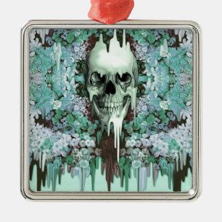 Cráneo floral del azúcar de la menta ornamente de reyes