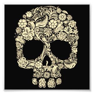 Cráneo floral del azúcar del vintage fotografía
