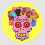 Cráneo floral del azúcar etiqueta redonda
