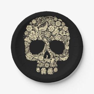 Cráneo floral del azúcar plato de papel de 7 pulgadas