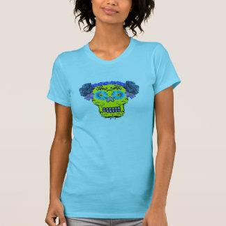 Cráneo floral del azúcar camisetas