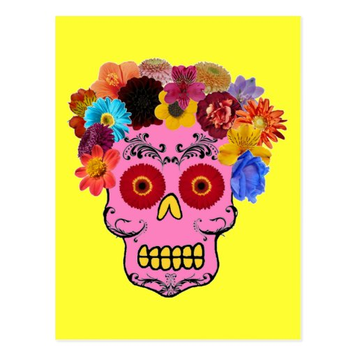 Cráneo floral del azúcar postal
