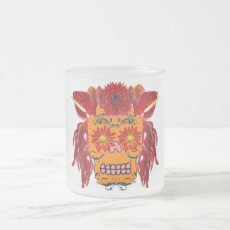 Cráneo floral del azúcar taza de cristal