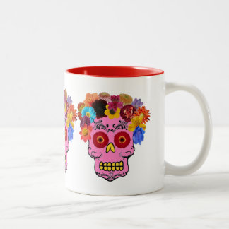 Cráneo floral del azúcar taza de dos tonos