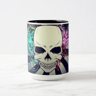 Cráneo floral elegante taza de dos tonos
