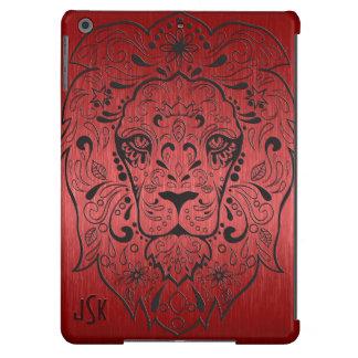 Cráneo floral metálico del azúcar del león rojo y funda para iPad air