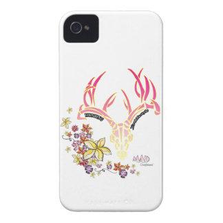 Cráneo floral Phonecase de los ciervos iPhone 4 Case-Mate Cárcasas