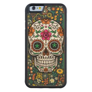 Cráneo floral retro colorido del azúcar funda de iPhone 6 bumper arce