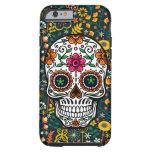 Cráneo floral retro colorido del azúcar funda de iPhone 6 tough