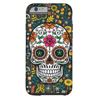Cráneo floral retro colorido lindo del azúcar funda de iPhone 6 tough