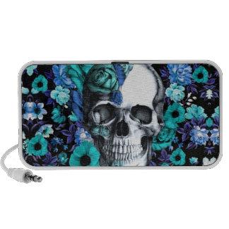 Cráneo floral retro del azul y de la menta iPod altavoces