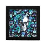 Cráneo floral retro del azul y de la menta caja de joyas