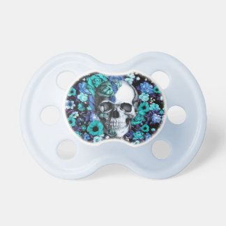 Cráneo floral retro del azul y de la menta chupetes para bebes