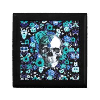 Cráneo floral retro del azul y de la menta joyero cuadrado pequeño
