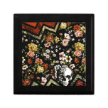 Cráneo floral rojo del galón cajas de joyas