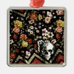 Cráneo floral rojo del galón ornamentos de navidad