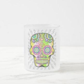 cráneo floral taza de cristal