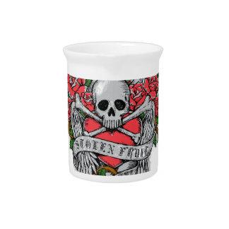 Cráneo florido del vintage fresco con el tatuaje jarra