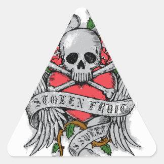 Cráneo florido del vintage fresco con el tatuaje pegatina triangular