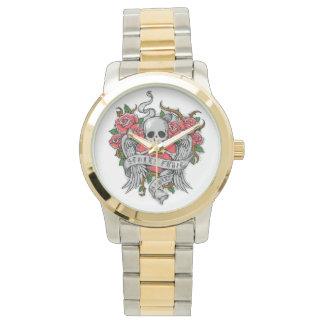 Cráneo florido del vintage fresco con el tatuaje relojes de mano