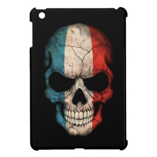 Cráneo francés de la bandera en negro