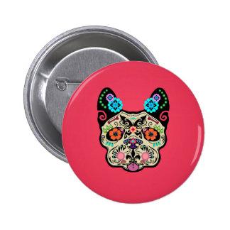 Cráneo Frenchie - rosa del azúcar Pins