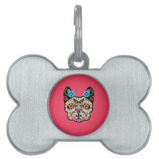 Cráneo Frenchie - rosa del azúcar Placa Mascota