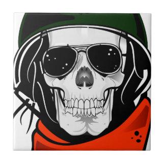 cráneo fresco con las gafas de sol y el casco azulejo