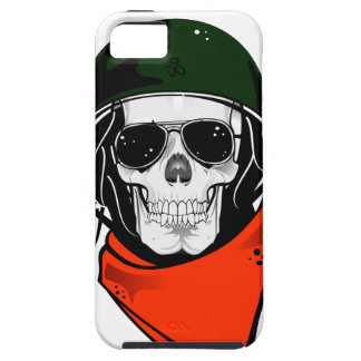 cráneo fresco con las gafas de sol y el casco iPhone 5 fundas