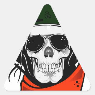 cráneo fresco con las gafas de sol y el casco pegatinas de triangulo personalizadas