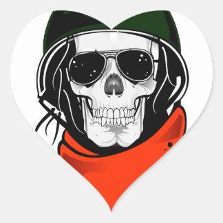 cráneo fresco con las gafas de sol y el casco pegatina corazon personalizadas