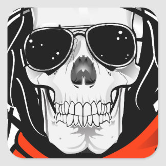cráneo fresco con las gafas de sol y el casco pegatina cuadrada