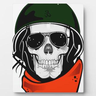 cráneo fresco con las gafas de sol y el casco placas con fotos