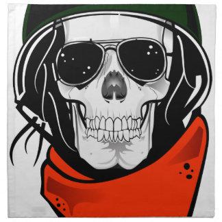 cráneo fresco con las gafas de sol y el casco servilletas