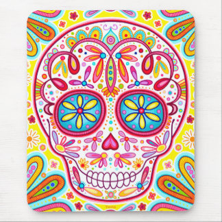 Cráneo fresco Mousepad - día del azúcar del arte m Tapetes De Ratón