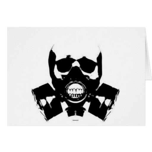 cráneo-gas-máscara-huesos tarjeta de felicitación