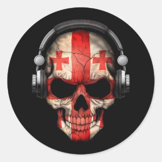 Cráneo georgiano adaptable de DJ con los Pegatina Redonda