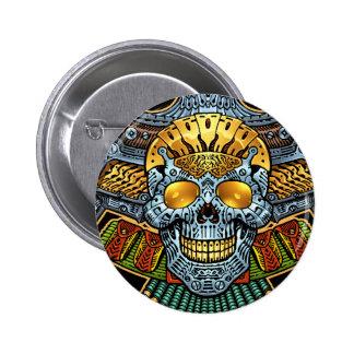 Cráneo gótico con los armas y las balas por el Al  Pin Redondo De 2 Pulgadas