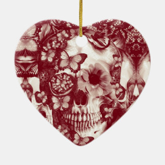 Cráneo gótico del cordón del Victorian Adorno Navideño De Cerámica En Forma De Corazón