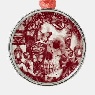 Cráneo gótico del cordón del Victorian Adorno Navideño Redondo De Metal
