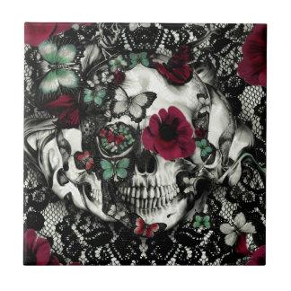 Cráneo gótico del cordón del Victorian con acentos Azulejo Cuadrado Pequeño