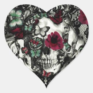 Cráneo gótico del cordón del Victorian con acentos Pegatina En Forma De Corazón