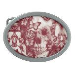 Cráneo gótico del cordón del Victorian Hebillas De Cinturón Ovales