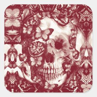 Cráneo gótico del cordón del Victorian Calcomanía Cuadradas Personalizada