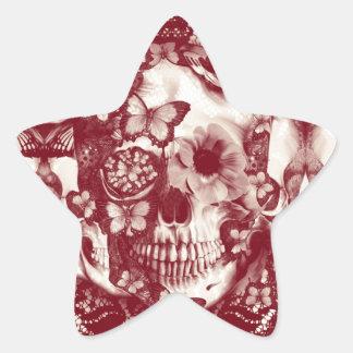 Cráneo gótico del cordón del Victorian Calcomanías Forma De Estrella Personalizadas