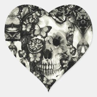 Cráneo gótico del cordón del Victorian Pegatina De Corazón Personalizadas