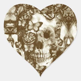 Cráneo gótico del cordón del Victorian Pegatina Corazón