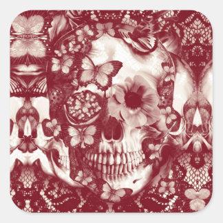 Cráneo gótico del cordón del Victorian Pegatina Cuadrada