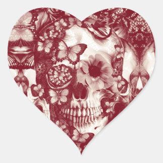 Cráneo gótico del cordón del Victorian Pegatina En Forma De Corazón
