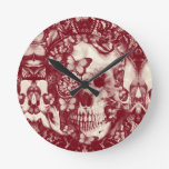Cráneo gótico del cordón del Victorian Relojes De Pared